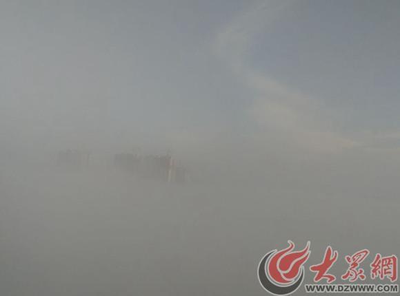 烟影如画,大雾弥漫菏泽城 恰似仙境烟影如画