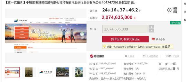 河北银行2016股东大会,河北银行7.75%股权被高价拍卖 第三大股东中城建身陷债务泥潭