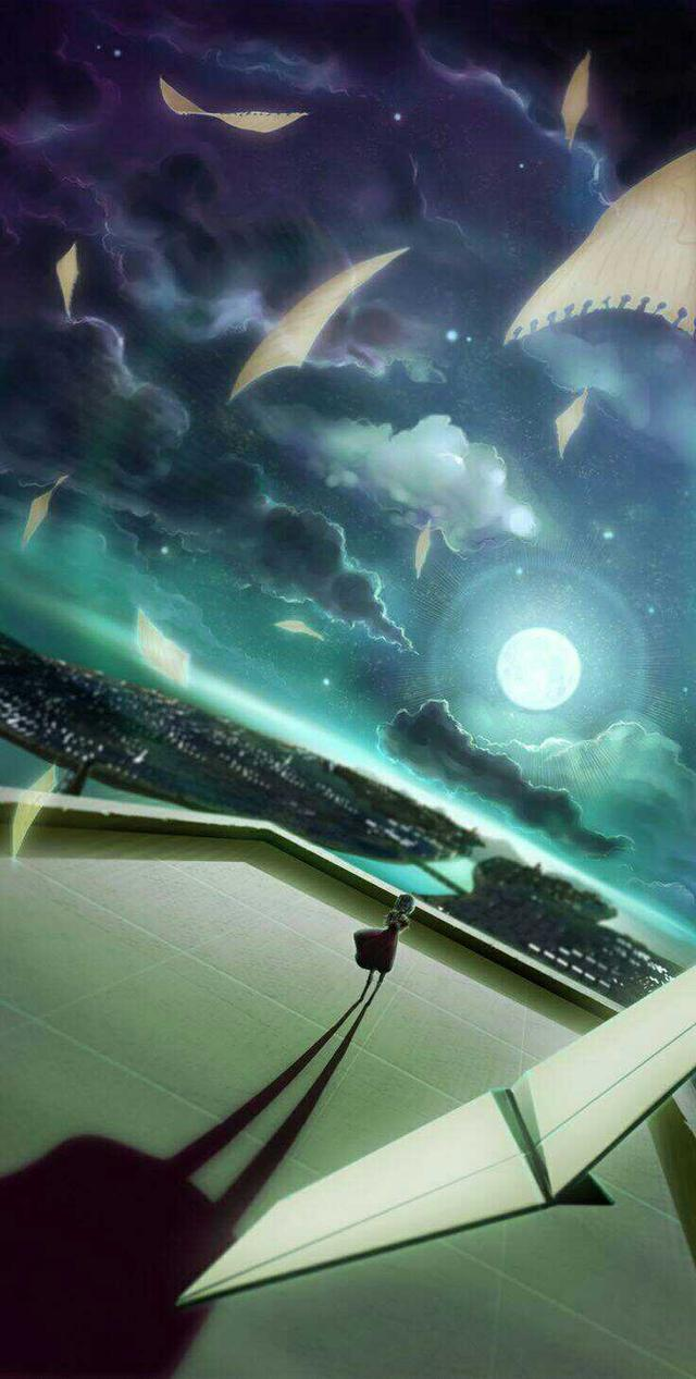 动漫星空二次元壁纸,壁纸~356期丨动漫插画的黑夜场景星空夜月极光②