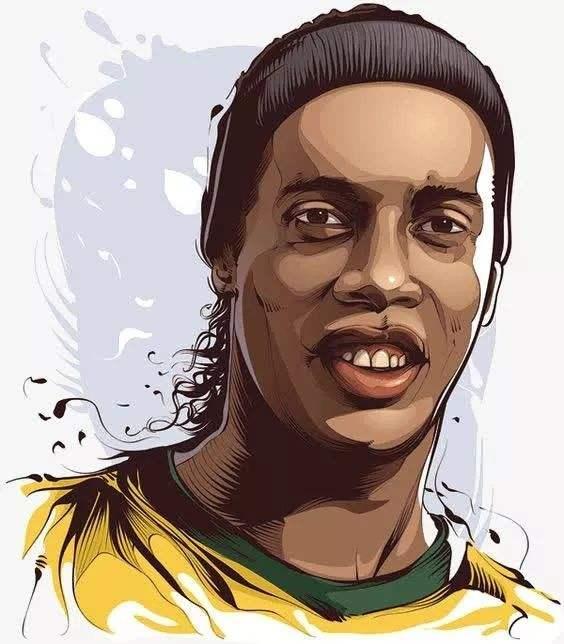 足球美式漫画,足球巨星罗纳尔迪尼奥(Ronaldinho)肖像漫画精选